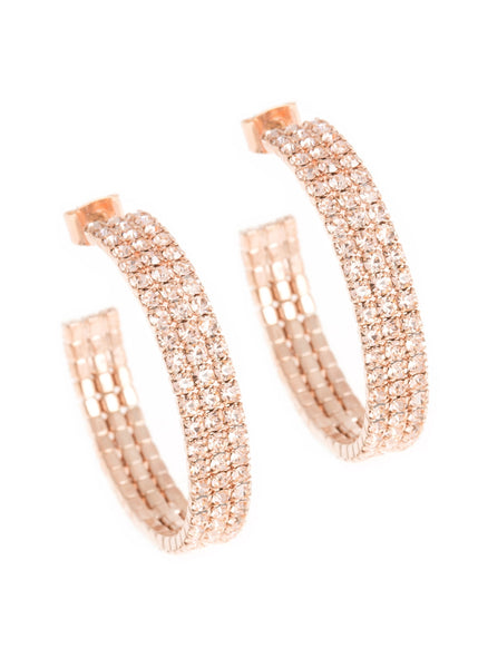Small classic triple line CZ open hoop in rose gold finish