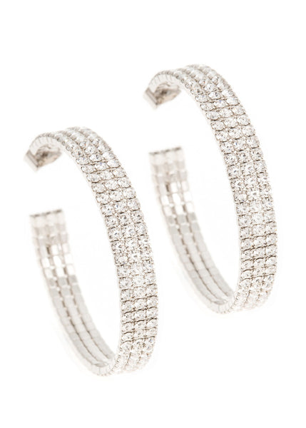 Large classic triple line CZ open hoop in white gold finish