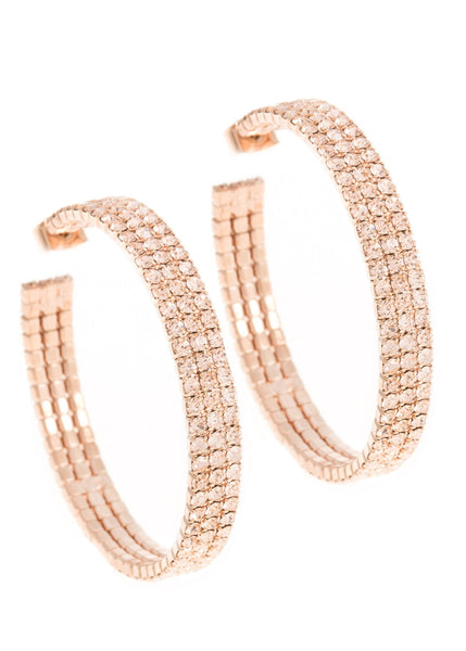 Large classic triple line CZ open hoop in rose gold finish