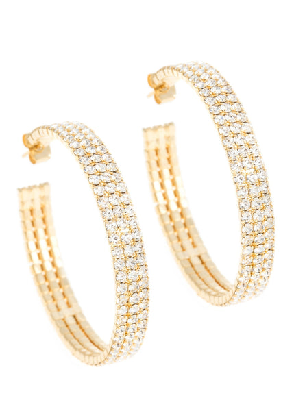Large classic triple line CZ open hoop in gold finish
