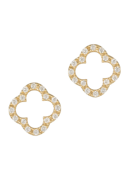 Open Clover Earrings, high quality CZ, Gold finish