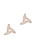 Triangle of marquise cut CZ stud Earrings, high quality CZ, Rose gold finish