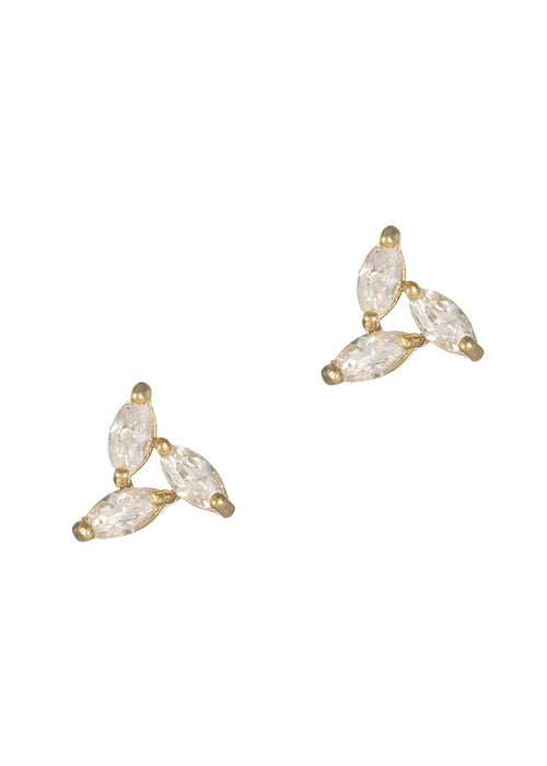 Triangle of marquise cut CZ stud Earrings, high quality CZ, Gold finish
