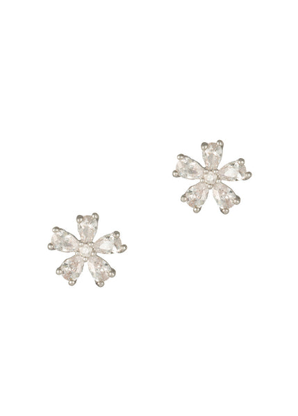 Five teardrop CZ Daisy stud Earrings, high quality CZ, White Gold finish
