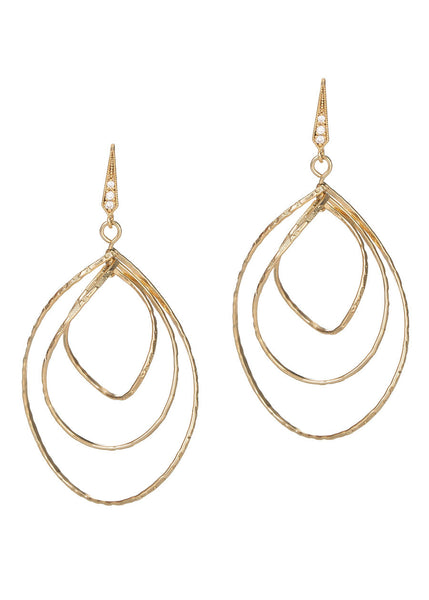 Diamond cut three twisted oval drop earrings in Gold finish