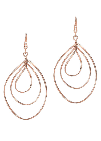 Diamond cut three twisted oval drop earrings in Rose Gold finish