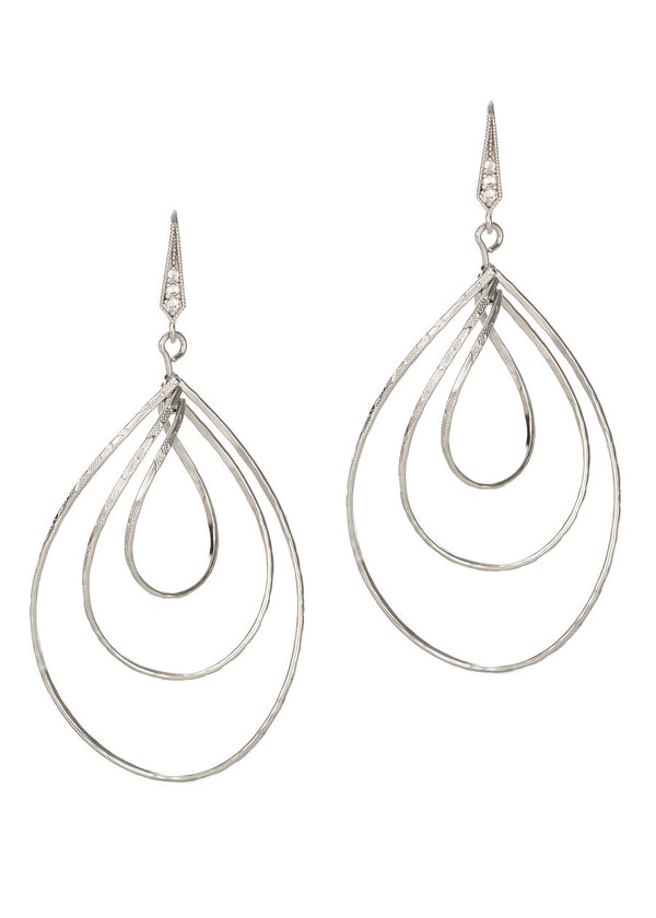 Diamond cut three twisted oval drop earrings in White Gold finish