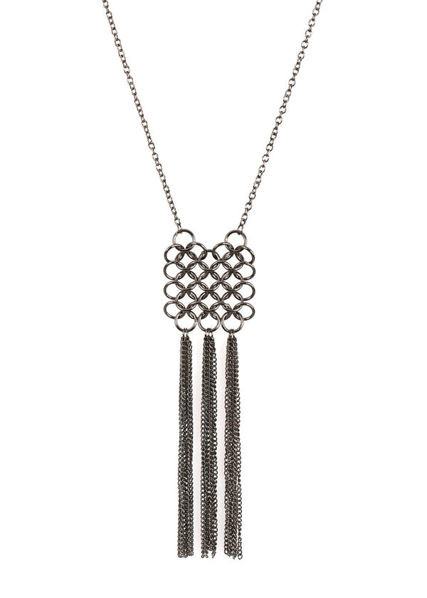 Chain of Life tassel long necklace, Gun metal finish