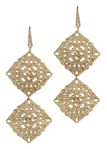 Byzantine two tier double motif earrings, Gold finish
