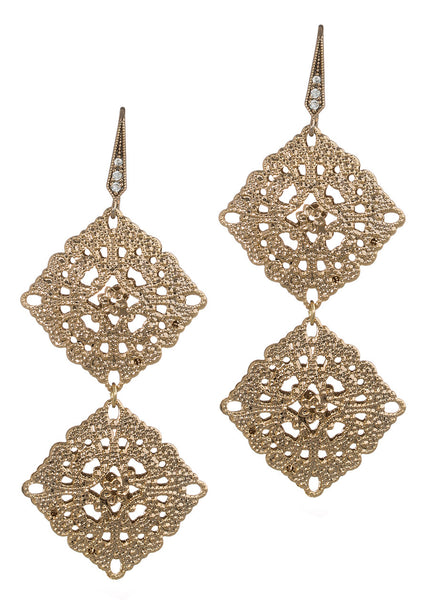 Byzantine two tier double motif earrings, Antique Gold finish