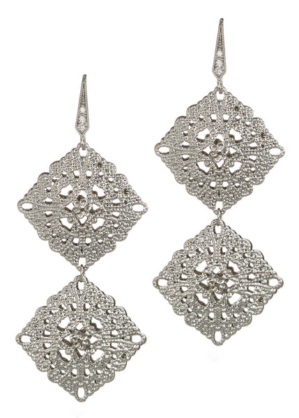 Byzantine two tier double motif earrings, White Gold finish
