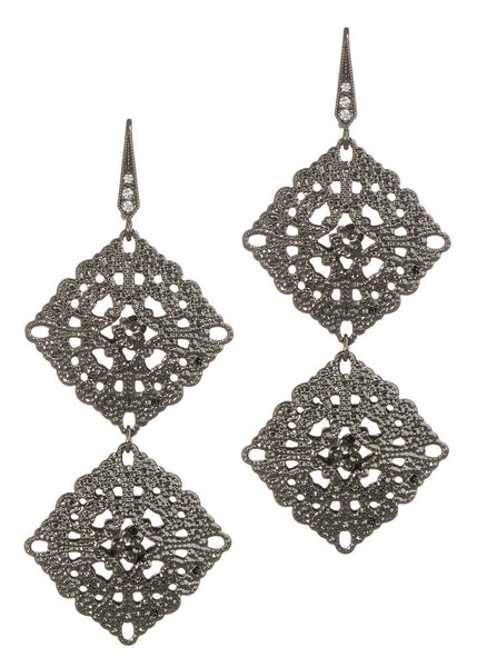 Byzantine two tier double motif earrings, Gun metal finish