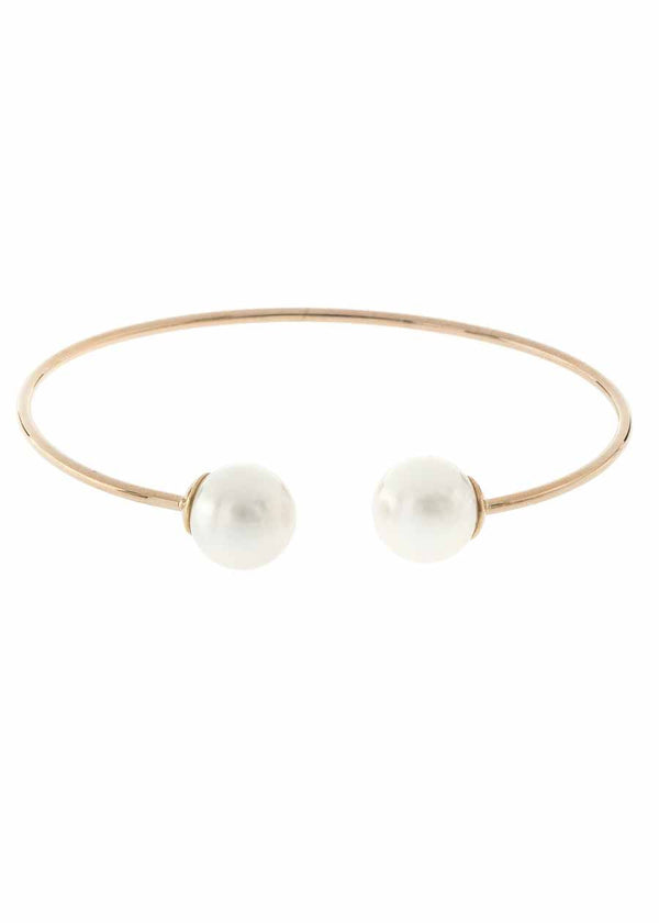 Simple adjustable bangle with two shell pearl accents, Antique gold finish
