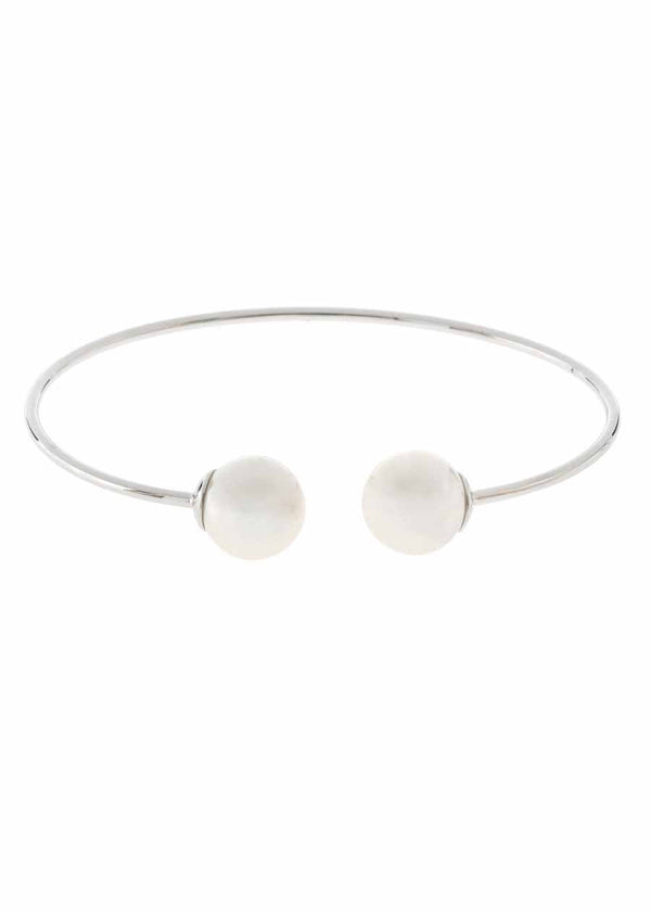 Simple adjustable bangle with two shell pearl accents, White gold finish