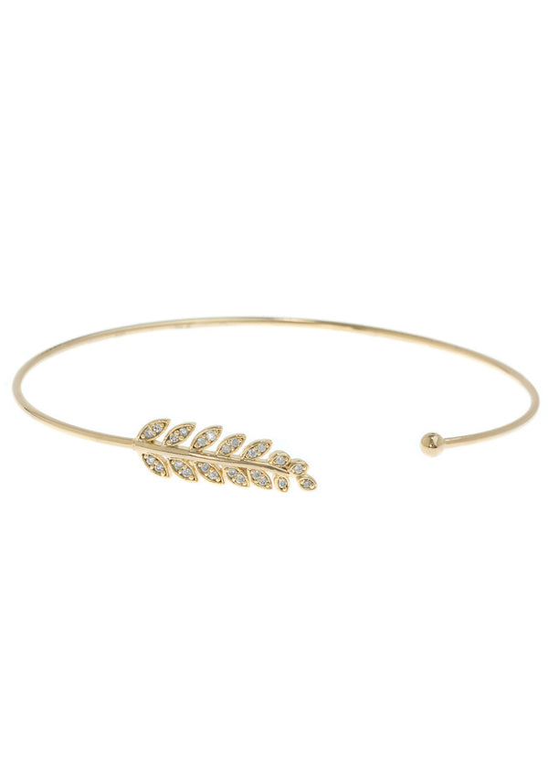 Laurel leaf delicate bangle with hand set micro pave high quality CZ, Gold finish