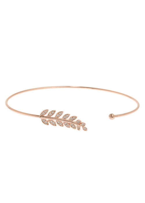 Laurel leaf delicate bangle with hand set micro pave high quality CZ, Rose Gold finish