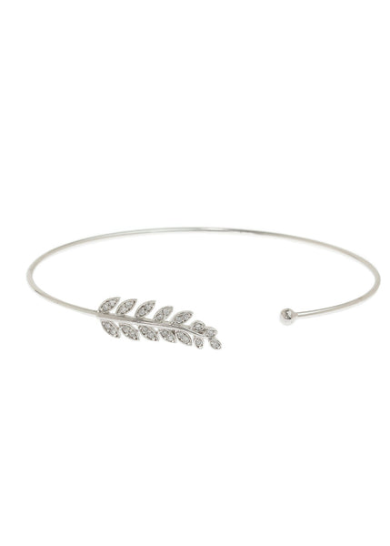 Laurel leaf delicate bangle with hand set micro pave high quality CZ, White Gold finish