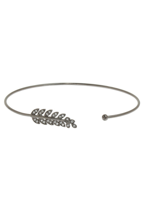 Laurel leaf delicate bangle with hand set micro pave high quality CZ, Gun metal finish