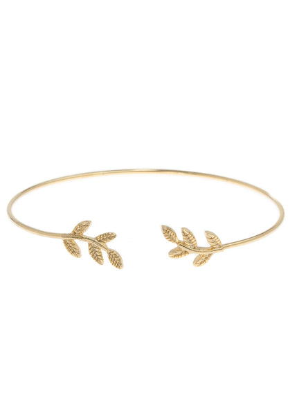 Laurel leaf delicate bangle, Gold finish