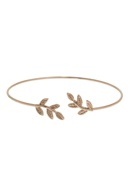 Laurel leaf delicate bangle, Antique Gold finish