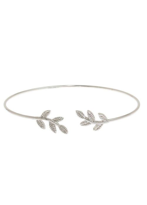 Laurel leaf delicate bangle, White Gold finish