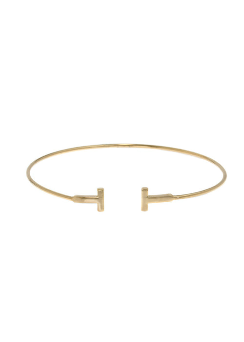 Small high polish vertical bar adjustable bangle, Gold finish