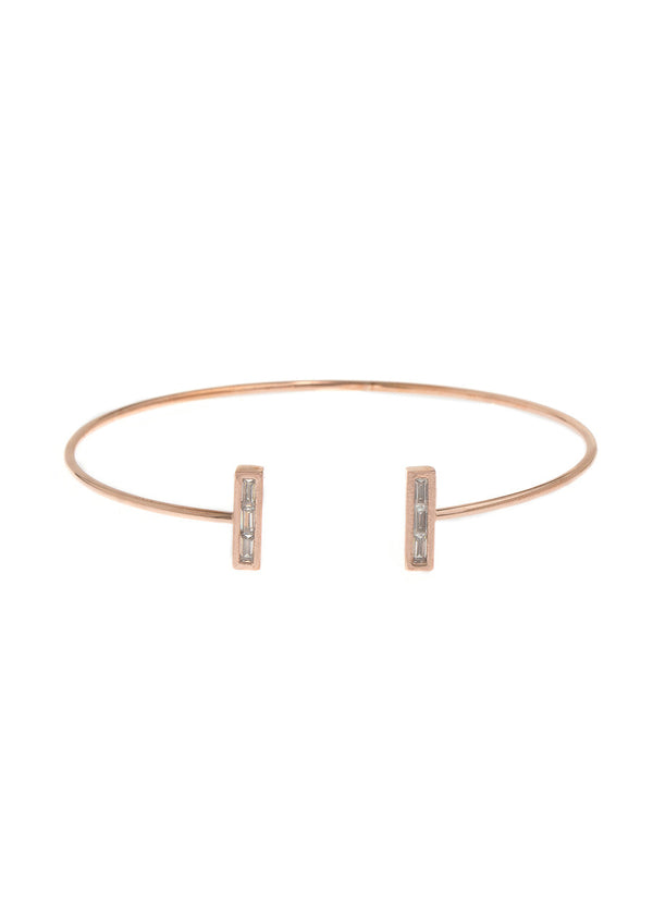 Vertical bar adjustable bangle with baguette cut hand set high quality CZ, Rose Gold finish
