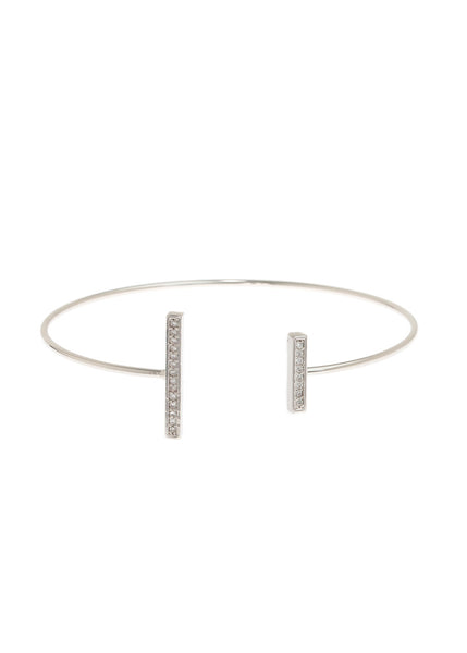 Vertical unbalanced bar adjustable bangle with hand set high quality CZ, White Gold finish
