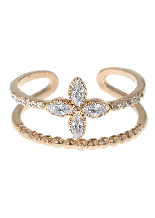 Petal and textured bar adjustable ring in hand set high quality CZ, Antique Gold finish