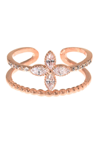 Petal and textured bar adjustable ring in hand set high quality CZ, Rose Gold finish