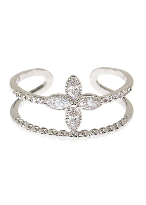 Petal and textured bar adjustable ring in hand set high quality CZ, White Gold finish