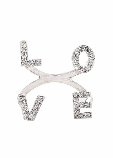 Love ring in high quality hand set CZ, White Gold finish