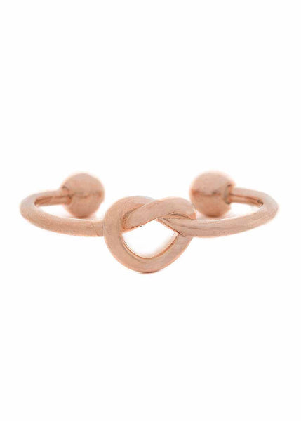 Knotted heart simple band ring, Rose Gold finish