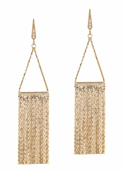 Waterfall earrings with liquid chain, Gold finish