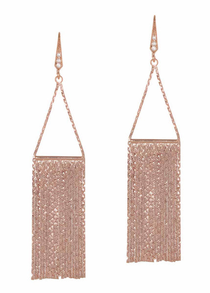 Waterfall earrings with liquid chain, Rose Gold finish