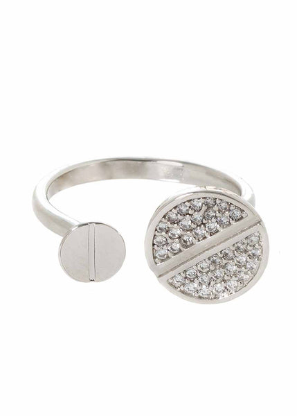Two nail head adjustable ring with hand set micro pave high quality CZ, White Gold finish