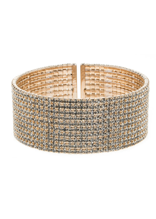 Champagne CZ Bangle, 10 Rows, Antique gold finish