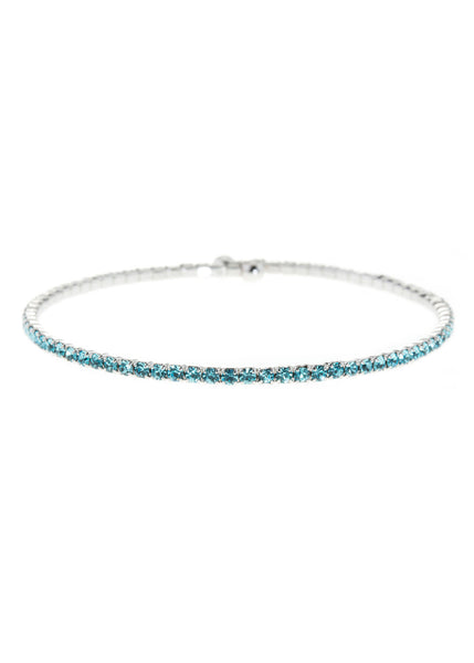 Blue Topaz CZ Bangle,1 Row, White Gold finish
