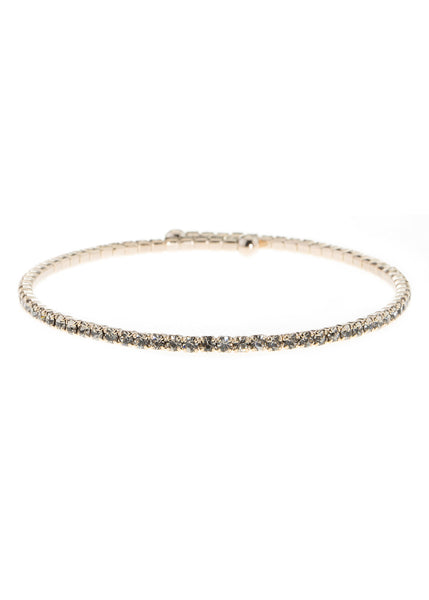 Black Diamond CZ Bangle,1 Row, Antique gold finish