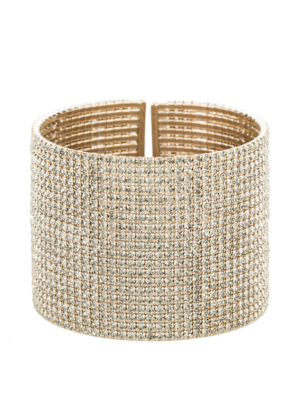 Champagne CZ Bangle, 20 Rows, Antique gold finish