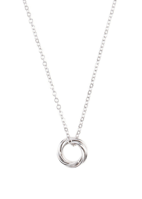 Circular infinity necklace, White Gold finish
