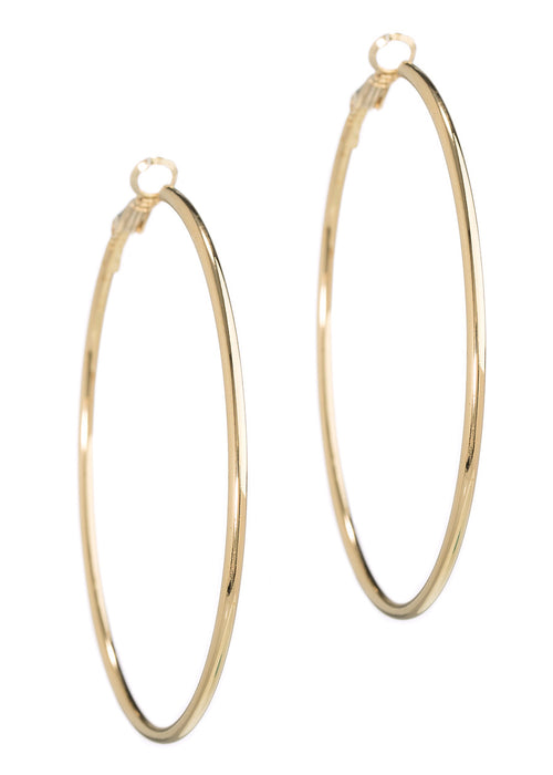 Simple, polished round hoop in gold finish
