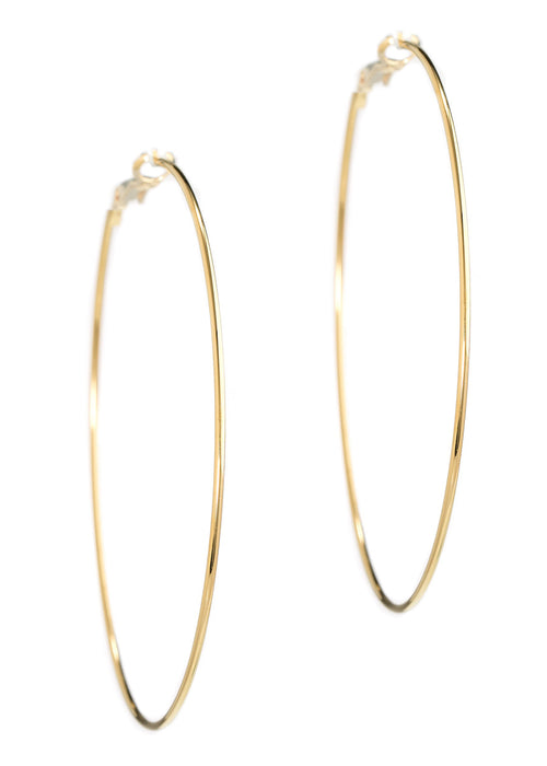 Simple, polished thin round hoop in gold finish
