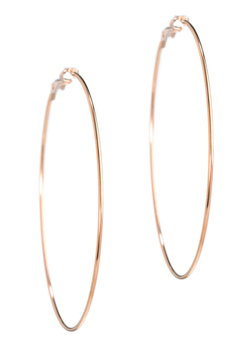 Simple, polished thin round hoop in Rose gold finish