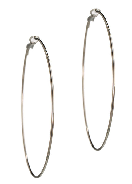 Simple, polished thin round hoop in Gun metal finish
