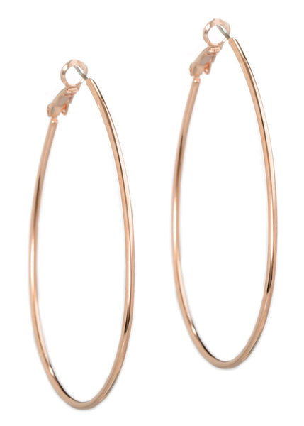 Simple, polished tear drop round hoop in Rose gold finish