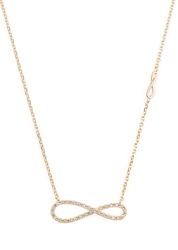 Elongated CZ infinity necklace with side infinity accent, Gold finish