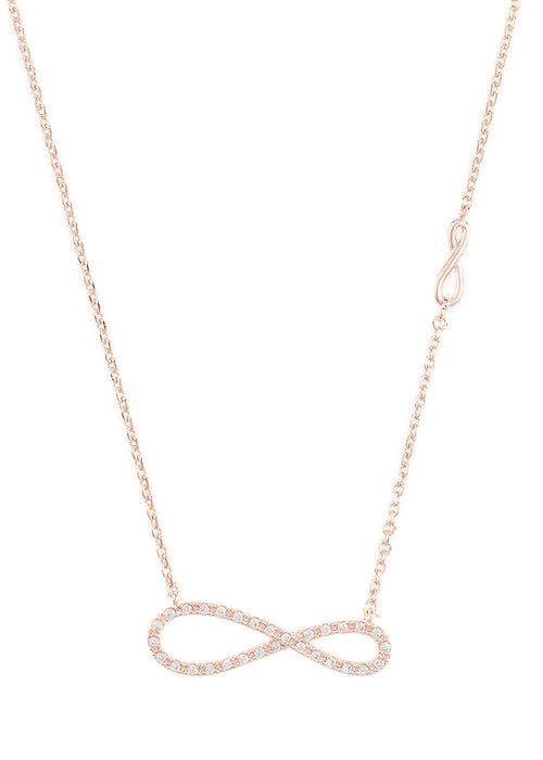 Elongated CZ infinity necklace with side infinity accent, Rose gold finish