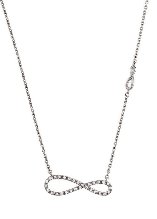 Elongated CZ infinity necklace with side infinity accent, Gun metal finish