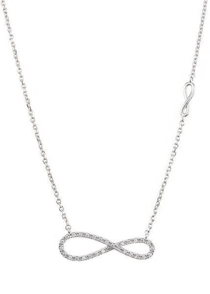 Elongated CZ infinity necklace with side infinity accent, White gold finish